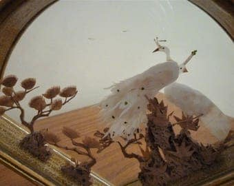 Chinese cork Display Box, Diorama of two loving White Cranes in a forest of cork trees.