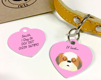 Shih Tzu Personalised HEART Dog Tag - Shih Tzu Name Tag - Shih Tzu Collar Tag