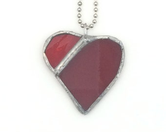Red Stained Glass Heart Pendant , Recycled Stained Glass, Gift for Her, Two Reds Heart Pendant, kimsjoy, Valentine Gift, mother gift,