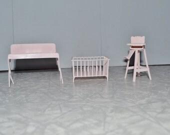 Marx Pink Dollhouse Nursery Set ~ Doll Furniture ~ Vintage Dollhouse ~ Pink Dollhouse ~ Epsteam