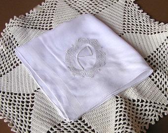 Vintage Monogram P Handkerchief, White on White, Madeira Embroidery Hanky