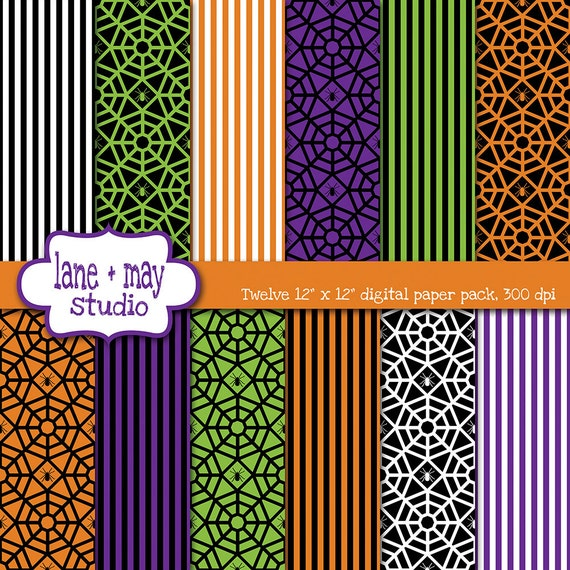 Digital scrapbook papers spider webs and stripe