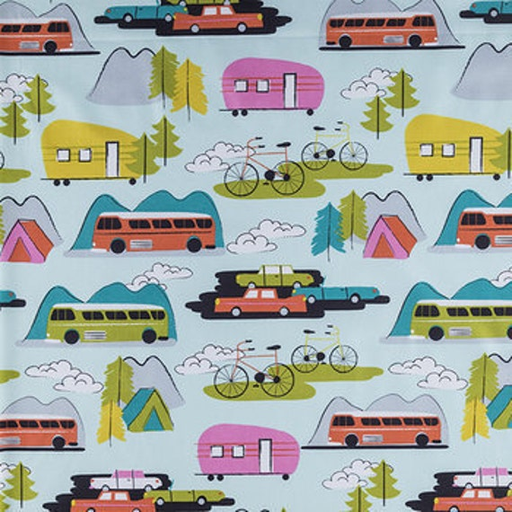 Camper Fabric Retro Rv Camping Fabric By The Yard Quilt
