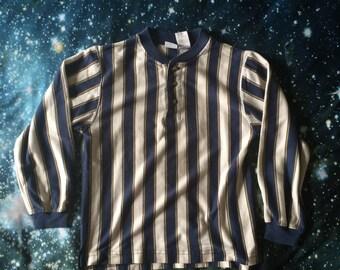Vintage Basic Edition Brand 3/4 Button Up Striped Crop Top Shirt