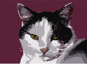 Needlepoint Kit or Canvas: Here Kitty
