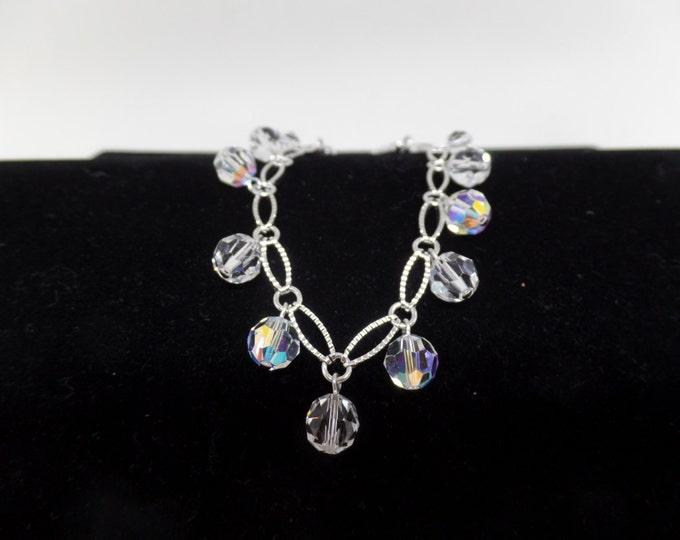 SWAROVSKI Signed Swan Aurora Borealis Dangling Crystal Bracelet