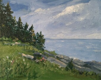 "Pemaquid Point, Maine. Small Oil painting, original art, 8""X10"" unframed canvas, Maine artist Adrienne Kernan LaVallee"