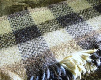 Welsh Wool Blanket Traditional Weave Cream Blue Green Brown Black Square