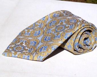 Vintage 1970s Wide Light Blue Polyester Tie Gold Floral Pattern Prince Consort