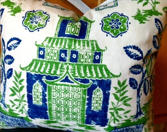 Pillow cover Chinoiserie Teahouse Pagoda  square throw pillow cover