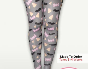 Bats Candy Corn Printed Tights Halloween Stockings Pastel Goth Batty Creepy Cute Candy Sweets Size XS Through 3XL *PREORDER*