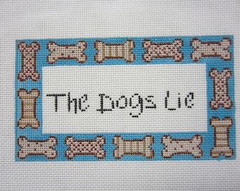 """Needlepoint Canvas """"The Dogs Lie"""" by Alice Vantrease Designs"""