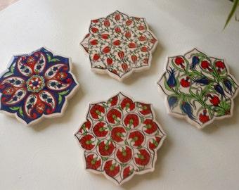 Ceramic tile Coaster Set, Mediterranean Style, four