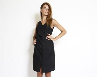 Little Black Summer Dress, buttoned down Dress, formal black dress, sleeveless party dress, v neck, short cocktail dress, knee length dress