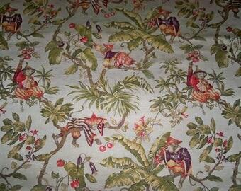 ITALIAN WHIMSICAL CHINOISERIE Monkeys Damask Brocade Fabric 9 Yards Cream Multi