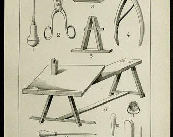 1900 antieke afdrukken van SCHOENMAKERIJ, gereedschappen en appareils. Schoenmaker. Espadrilles. Alpargatas. 116 jaar oude gravure.