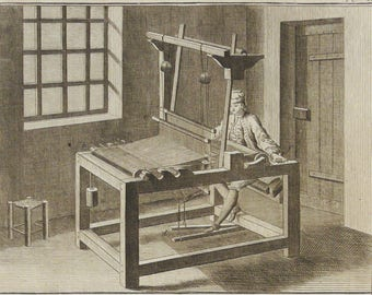 1763 Antique large print of a HAND COTTON LOOM. Cotton Industry. Cotton Production. Diderot Encyclopédie Engraving. 244 years old engraving