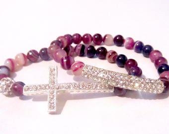 Cross Bracelet Set. Agate Bead Bracelet. Sideways Cross. Faith Bracelet. Side Cross Bracelet. Gemstone Bracelet. Silver Cross Bracelet.