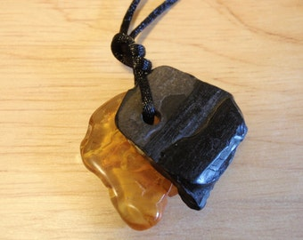 """WHITBY JET  & Baltic AMBER """"Kindred Spirits""""  Charm Pendant Naturally Shaped Organic Tree Fossils"""
