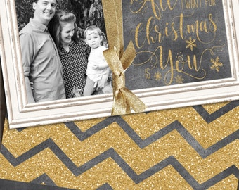 Chalkboard Christmas Cards, Gold Glitter Christmas Cards, Glitter Christmas Cards, Gold Chevron Christmas Card, Photo Christmas Card
