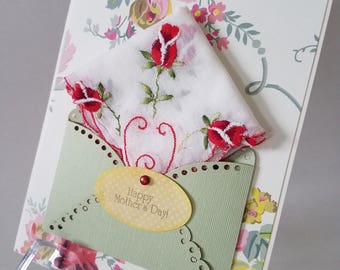 Mother's Day Vintage Hankie Card Embroidered Handkerchief Roses Mom Pink White Anna Griffin Keepsake Gift Happy Tears Hanky