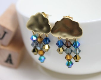 Swarovski crystals Small clouds of rain earrings -  Sparkles