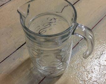 Glass Tea Pitcher/ Lemonade Pitcher/ Clear Glass / Circle Impressions
