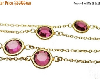 Purple Crystal  Bezel necklace - Signed  Trifari  - Gold chain necklace with open back Glass  stones
