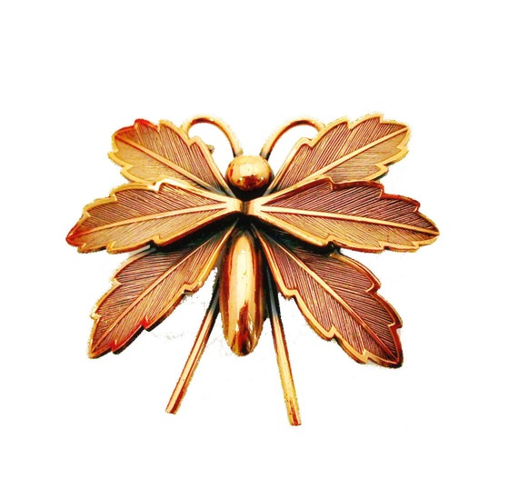 Copper Butterfly brooch- Signed  Bell Trading company - Insect figurine  pin