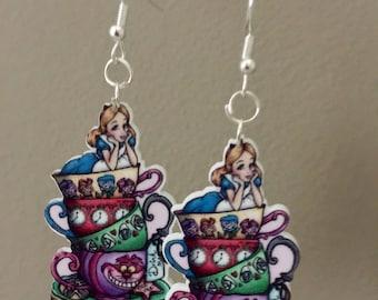 Alice in a tea cup Earrings