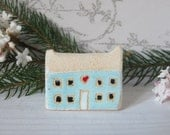 Ceramic small farm house with heart