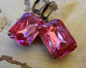 Pink Rhinestone earrings, Rose Pink Rhinestone Earrings, Vintage Rhinestone Earrings, Shabby Chic, Bridal Jewelry, Bertha Louise Designs