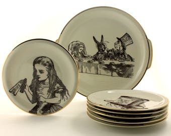 Alice in Wonderland Decor, 6 Plates Platter Set, Red Queen March Hare Rabbit Mad Hatter, Vintage Porcelain, Shabby Chic Wall Decor, Recycled