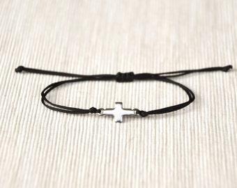 Bracelet for her, cross bracelet, women bracelet, stainless steel silver tone cross charm, christian catholic jewelry, black, gift for her