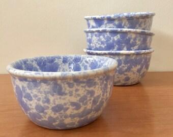 4 Bennington Potters Small Bowls -- Morning Glory Blue