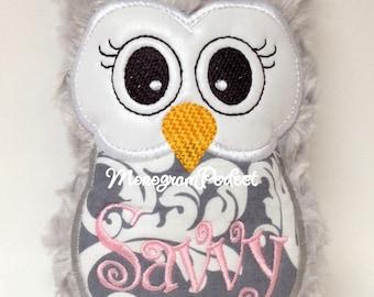 Gray Swirl Plush Mini Owl Rattle