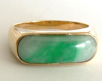 Beautiful Vintage 14K Yellow Gold Jadeite Jade Ring A Grade Antique Estate 白底青
