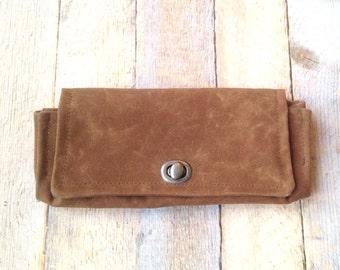 Waxed Canvas Wallet - Women's- Clutch Wallet With Card Slots - Foldover Waxed Canvas Wallet - Vegan Women's Wallet