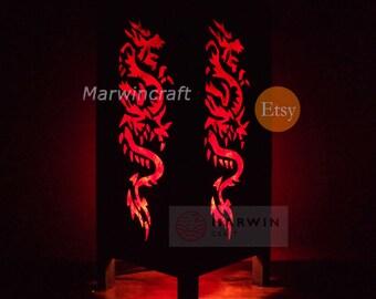 Asian Oriental Yakuza Red Japanese Dragon Zen Art Bedside Floor Table Lamp Desk Paper Light Shades Living Bedroom Furniture Home Decor