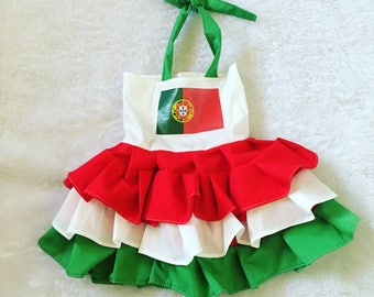 Portugal, flag, Boutique Style OTT Ruffle dress sizes NB 3  6 9 12 24 months, size 2 3 4 5