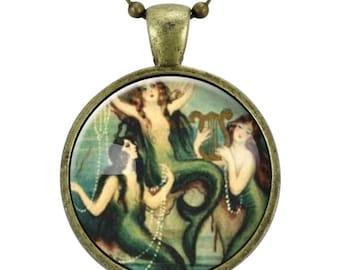 Mermaid Necklace, Fantasy Painting Jewelry, Art Pendant (0428B25MMBC)