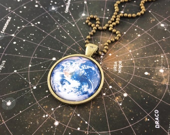 Earth Necklace, Gaia Planet Pendant, Universe Jewelry, Science Jewelry (1124B25MMBC)