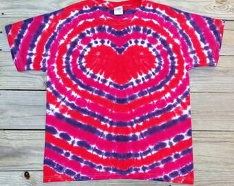 Ladies Heart Tie Dye Tshirt,  Women's Tie Dye, S M L XL XXL,  Pink Red and Purple Heart Shirt,  Hippie Top