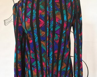Colorful Magenta, Tea, Blue and Black Striped Women's Blouse Size Small Blair Brand