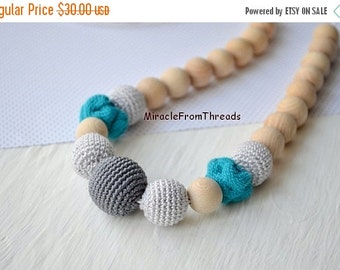 Christmas Sale Babywearing Teething necklace,Wrap Scrap Nursing necklace,Neutral color,Gift for baby mom,Breastfeeding necklace,Safe teethin