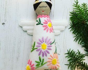 Handmade Vintage Embroidered Linen Christmas Angel / Fairy ornament / decoration