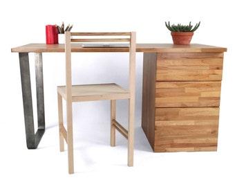 MODERN WRITING DESK, European Beechwood Table with Storage and Steel U Leg, Home Furniture