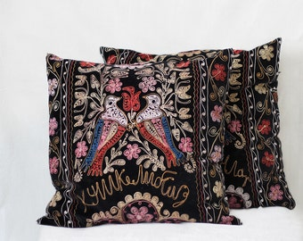 Uzbek suzani pillow, 22x22, SET OF TWO, couch pillow, silk cotton, black velour pillow case, velvet cushion cover, floral needlework