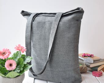 Linen shopping bag, market bag, Linen beach bag, Linen travel bag, Linen shoulder bag, Summer tote bag, Grey linen tote bag with pockets