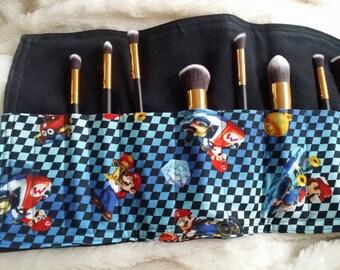 SET Brush Holder & Brushes- SUPERMARIO Bros. Make Up Brush Holder and 1 Set of 10 PERSONALIZED Makeup Brushes Choose your Custom Colors